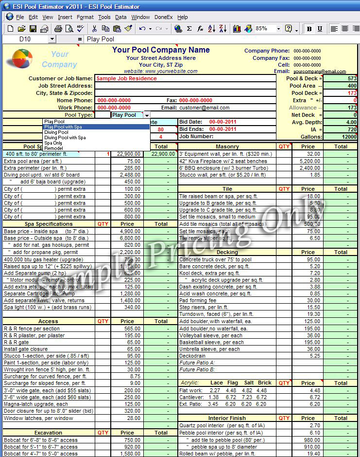 Estimating Excel Template  CityEsporaCo