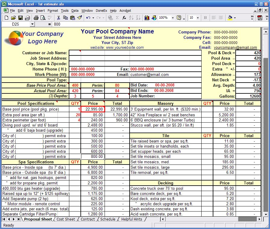 Residential construction bid form excel Residential construction cost estimator