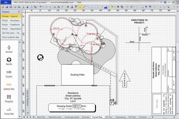 Pool design software for Plot plan drawing software