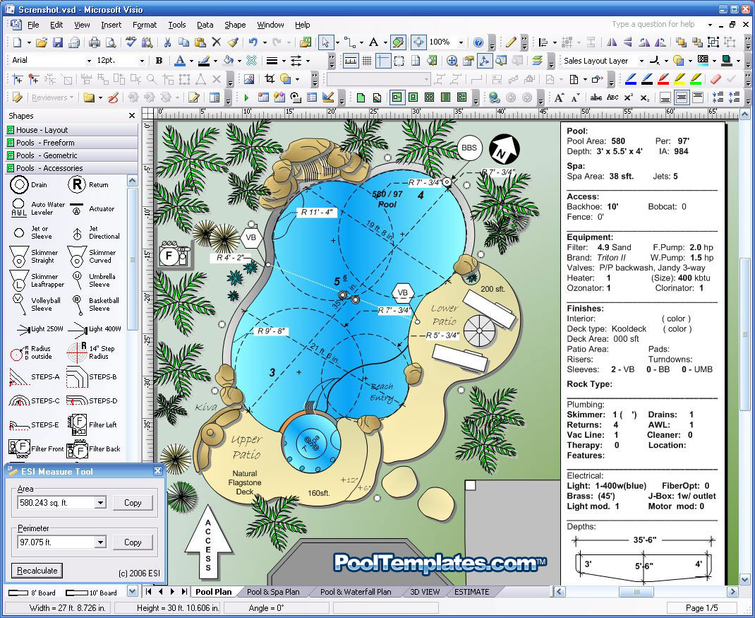 Pool templates visio 2003 for Pool design certification
